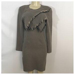 Tan and Black Layer Fringe Midi Dress